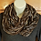 Thumbnail: Brown, gold and silver knit infinity scarf
