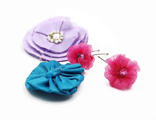 Pink and purple flower hair pins, ribbon flowers for hair