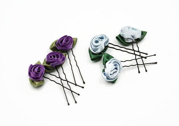 Satin ribbon floral hair pins