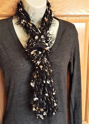 Black pom pom womens knit scarf