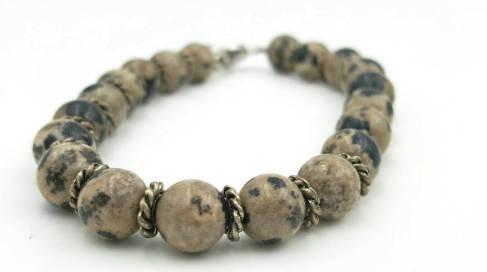 Semi precious dalmatian stone bead bracelet
