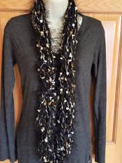 Fuzzy black pom pom infinity scarf (2).j