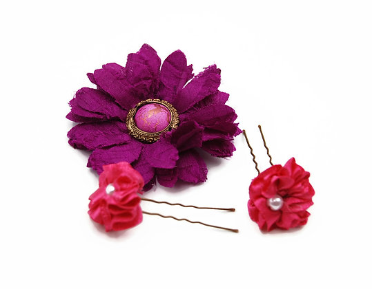 Fuchsia flower hair clips, cute hair clips