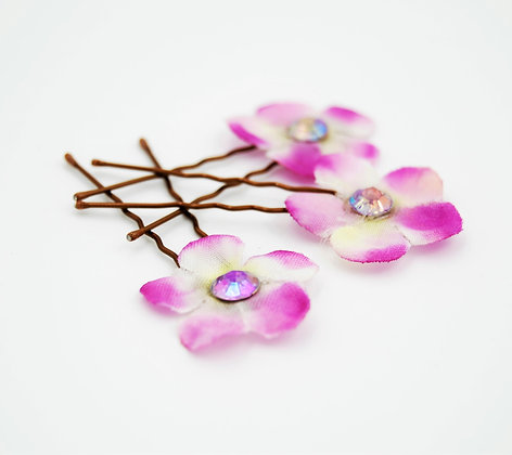 pink and white fabric flower hair pins
