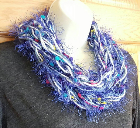 Blue and white knit infinity scarf
