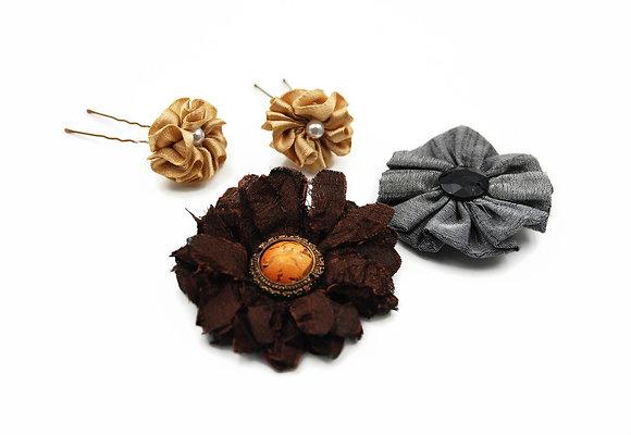 Brown floral hair pin set