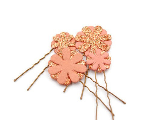 Paper flower embellished hair pins