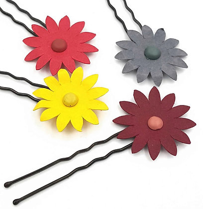 SET OF 4 Paper flower hair pins, small flower girl hair pin