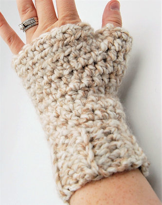 Womens beige crochet fingerless gloves, cream wrist warmers