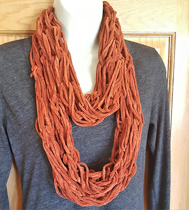 Dark orange knit infinity scarf