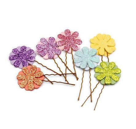 Glitter flower girl hair pins