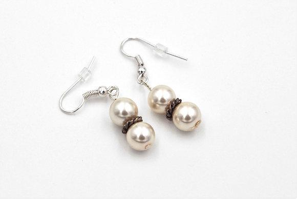 Rustic formal ivory pearl dangle earrings
