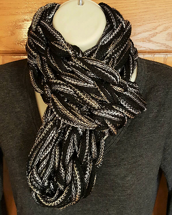 Black gold and silver knit infinity scarf