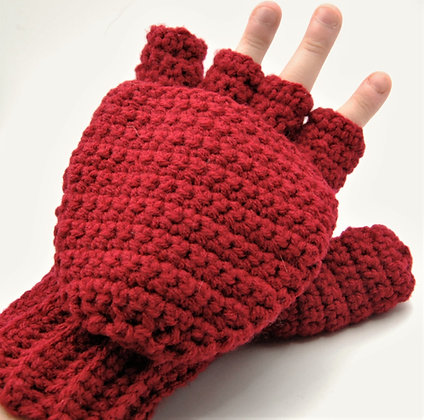 Red flip top convertible gloves