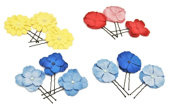 Paper flowers for hair, floral hair pins