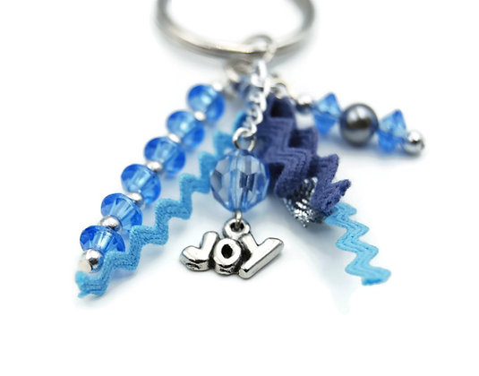 Blue beaded tassel keychain
