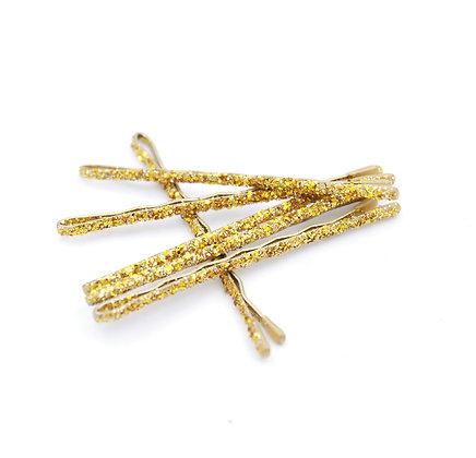 Gold Glitter Bobby Pins