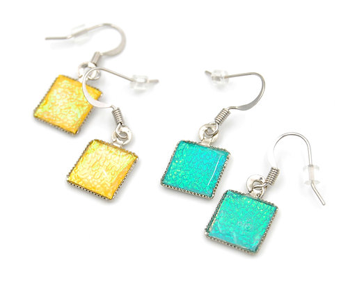 Beach style square drop earrings, iridescent shimmer earring
