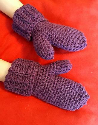 Children's foldover crochet mittens