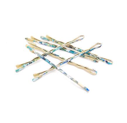 Blue Camo Bobby Pins