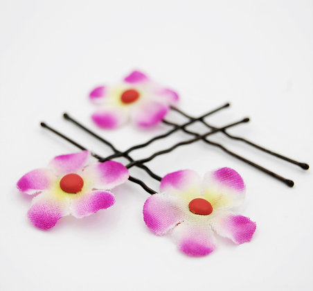 fabric flower hair pins