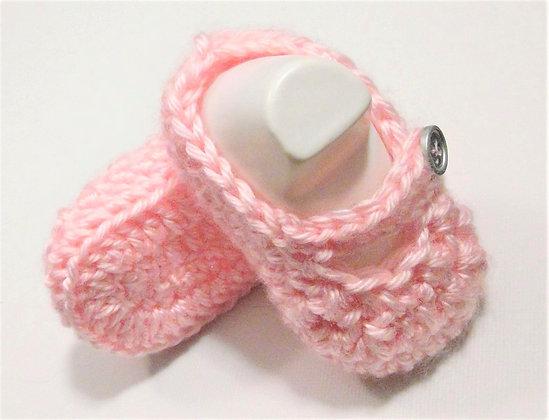 Pink Crochet Baby Girl Booties