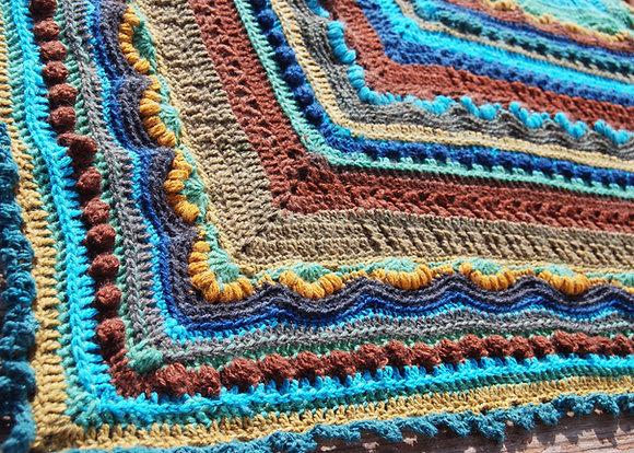 Intricate textured blanket, square crochet blanket
