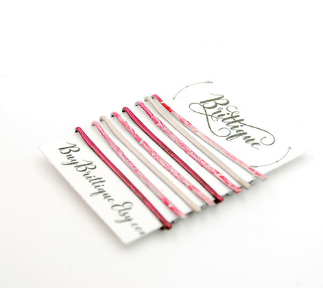 Pink Crackle Bobby Pins