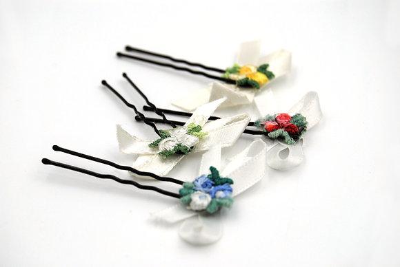 White ribbon hair bow with flowers, white flower girl hair pin
