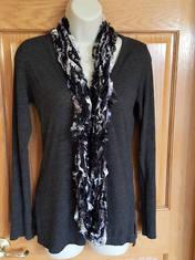 black and white eyelash yarn arm knit sc