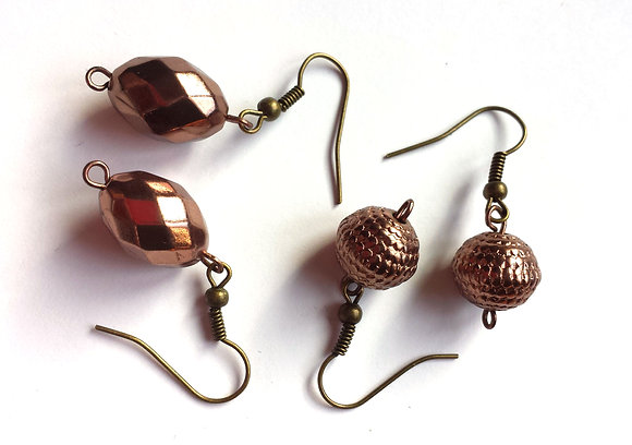Metallic copper colored metal dangle earrings