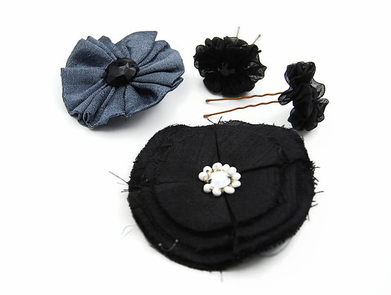 Ribbon flower hair pin, goth glam, flower for hair