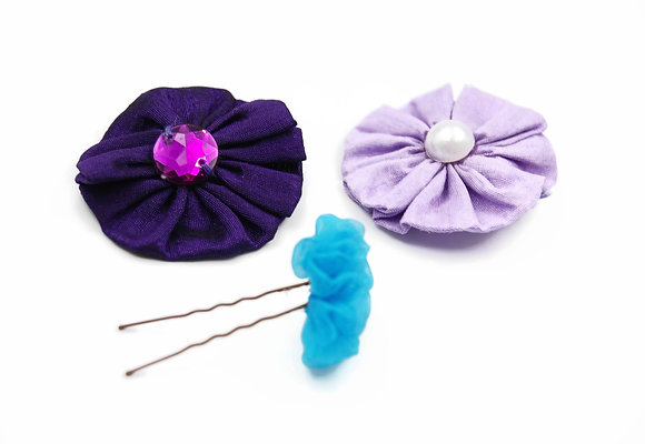 Scrunched fabric flowers for hair, magenta ribbon flower hair pins