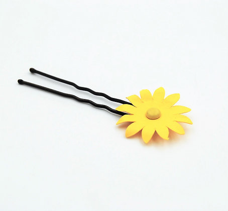 yellow paper flower hair pin