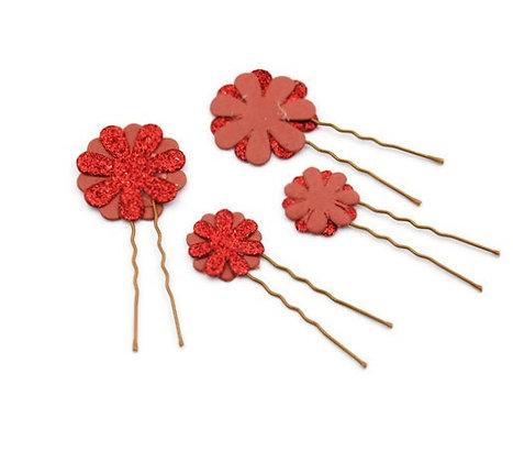 Paper flower hair pins