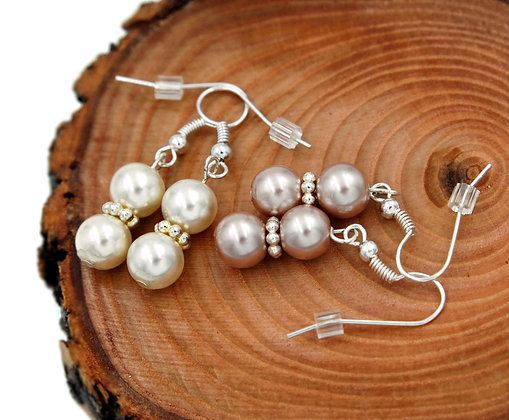 Classic formal faux pearl drop earrings