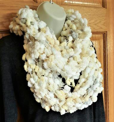 White and cream pom pom infinity scarf