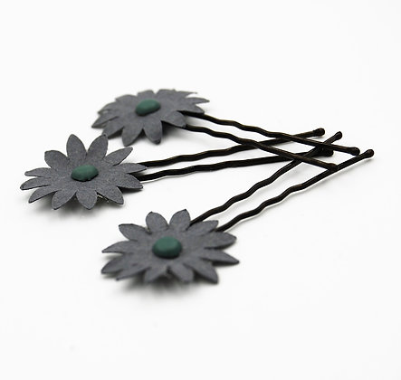 grey paper flower hair pins