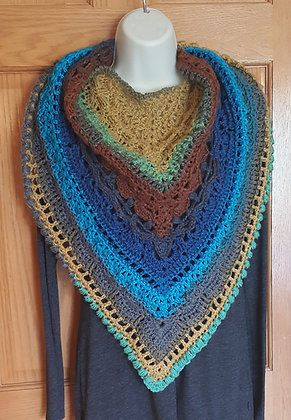 Women's brown and blue wrap shawl