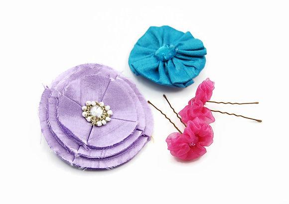 Pastel floral hair pin set