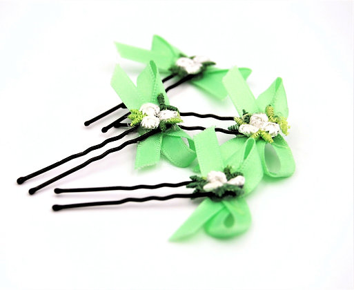 Green ribbon hair bow with flowers, green flower girl hair pin