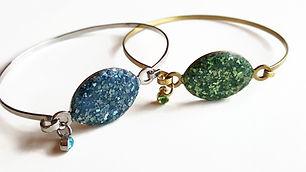 Blue and green druzy bracelets