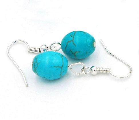 Beach style turquoise howlite dangle earrings, turquoise drop earrings