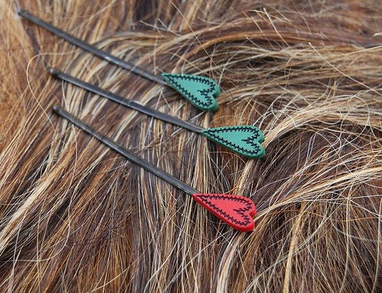 Stitched heart embellished bobby pins, green heart hair accessories