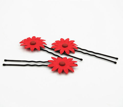 red paper flower hair pins