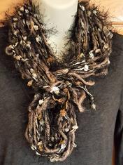 Fuzzy brown pom pom infinity scarf (7).j