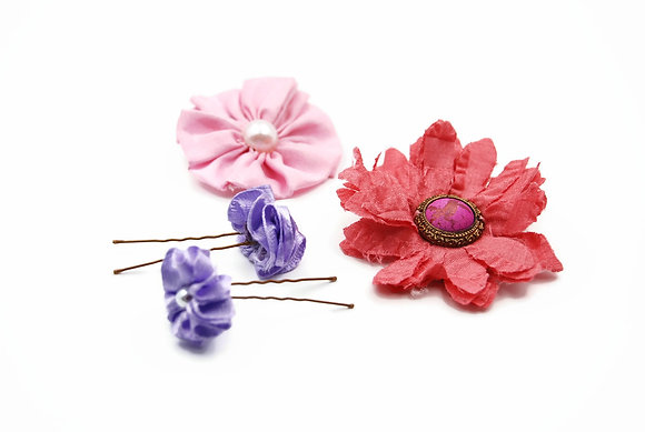 Fabric flower hair clips, ribbon flower hair pins