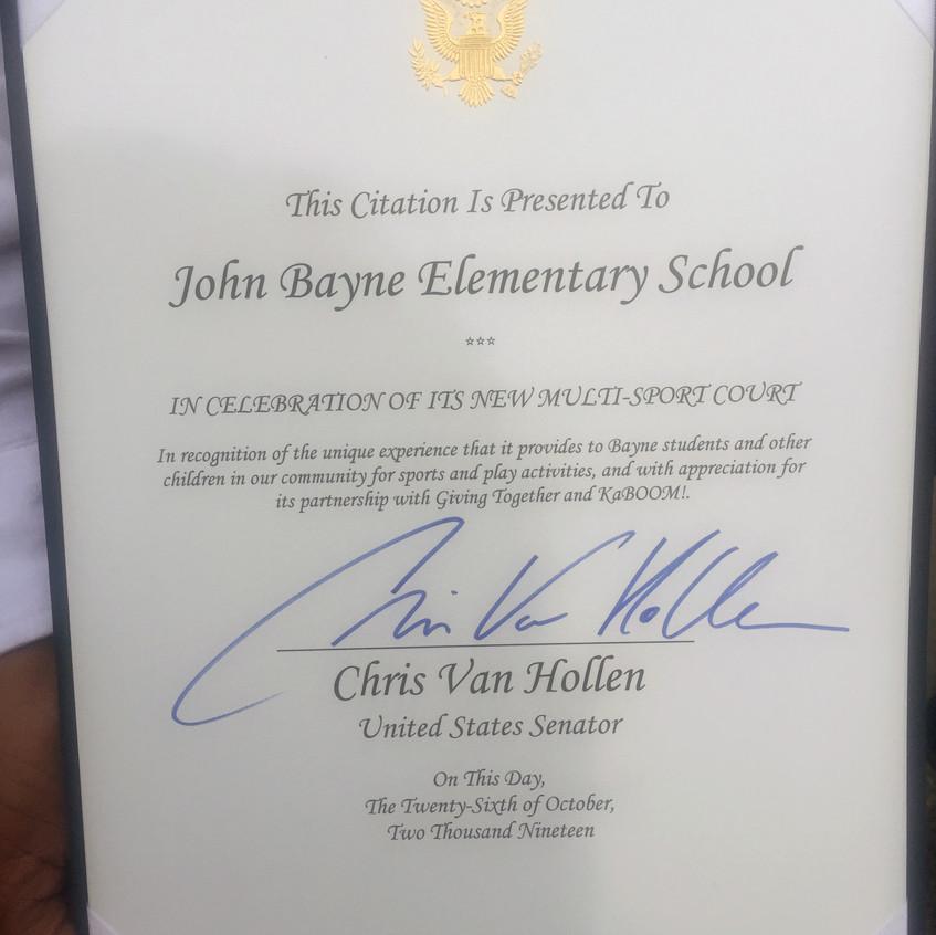 Van Hollen Congrats Letter