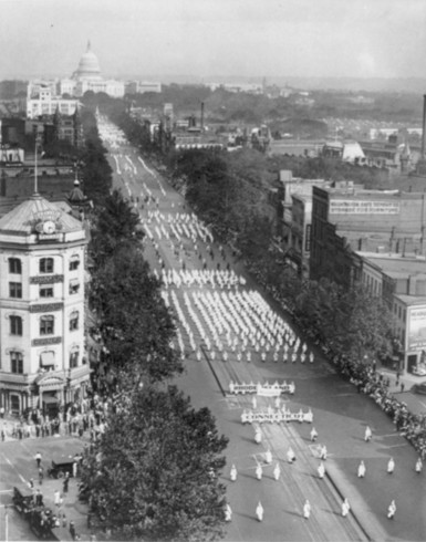 Ku Klux Klan parade in Washington D.C., 1926.