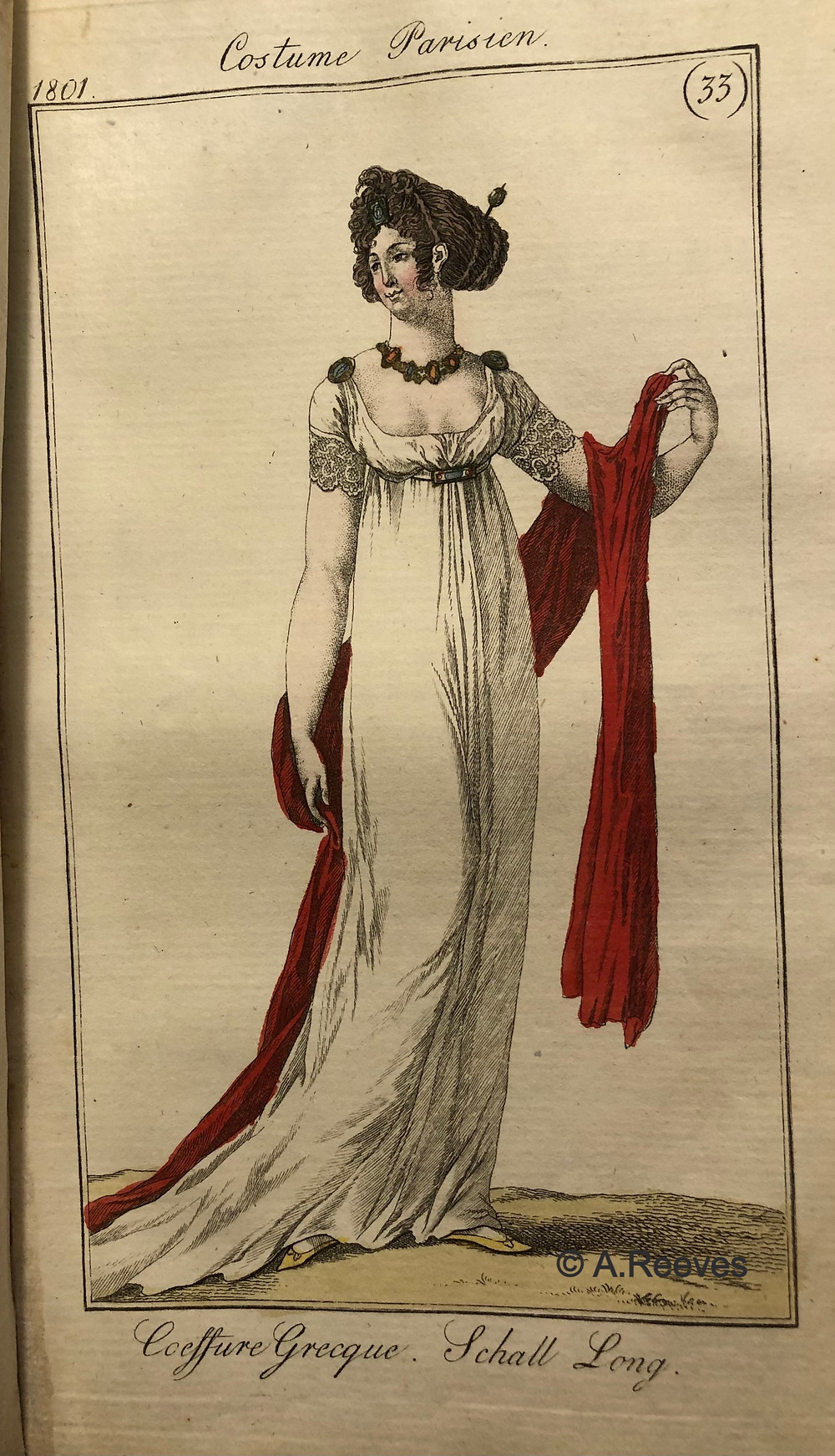 Lady of Fashion with Grecian Hair, white dress and a long red shawl.